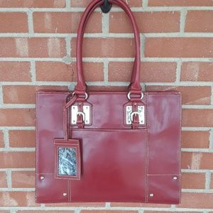 Wilsons Leather red leather briefcase laptop bag